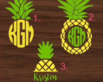 Personalized Pineapple with Monogram Decal | Monogrammed Yeti Decal | Monogrammed RTIC Decal | Monogrammed Car Decal | Customized Decal