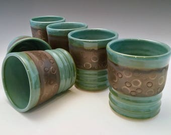 Set of 6 Whiskey Sippers/Yunomi/Tea/Juice Cups Handmade  by NorthWind Pottery