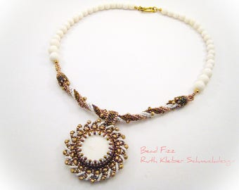 White Coral Necklace with Beadwoven Pendant, White Coral with Copper and Gold, Round Glass Beaded Pendant, White Coral Beads, White Jewelry