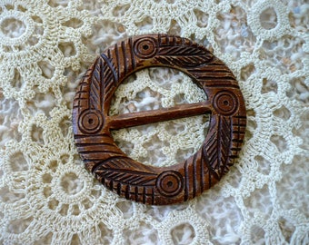 Large Brown Faux Wood Belt Buckle with Medieval Carvings for Rennaisance, Game of Thrones, Wizard Costume