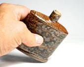 Flask, Raw Soda Fired, Side Fired On Shells