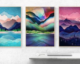 Set of three landscape art prints -  Art prints - Nature prints -  Mountain prints - Home decor - Mountains poster- Large size prints