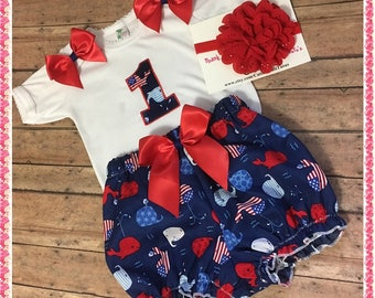 Birthday Nautical Whale Onezee, Handcrafted Bloomers With  Head Band;4th of July;1st Bday Personalized For Free In Red or Royal Blue Glitter