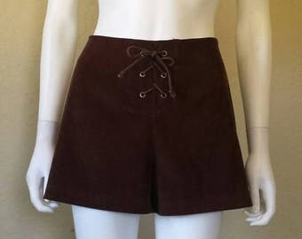 25% off SALE Dark brown lace up 90s shorts