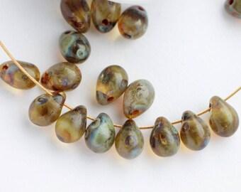 5x7mm Sapphire Blue Picasso Drops (25pcs) Travertine Antique Blue Grey Czech Glass Pressed Beads