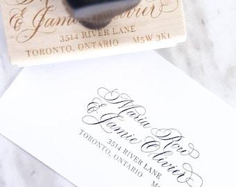 Custom Address Stamp | Personalized Couple, Family Mailing Address | Wedding Stationery | Envelope Return Address | Custom Calligraphy Stamp