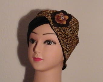 chemo Hat reversible stretch leopard