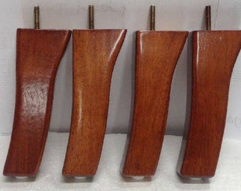 "4 Furniture Legs Feet 8"" Wood Sofa Couch Ottoman Chair Cabinet Pecan Finish 3274"