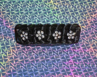 "Black Sparkly Flowers pop tab, hair clip ,barrette 3"""