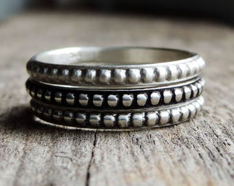 Sterling Silver Stacking Ring Band | Phat Stax - Diva | Dot Pattern Design, Antiqued Oxidized Patina, Single Band, Custom // Made to Order