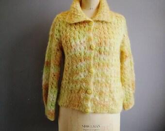 Vintage fluffy cardigan / green yellow soft fluffy hand knitted cardigan / hand knitted cardigan / boho winter knit / fluffy cobweb cardigan