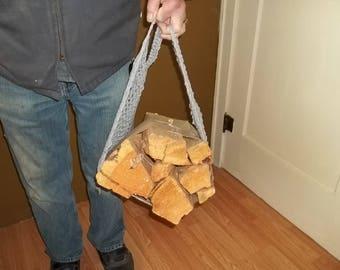 Crochet pattern wood hauling tote, camping wood hauler, easy wood hauler, easy quick crochet