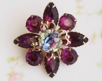 Vintage Purple Rhinestone Iris Glass Brooch Pin