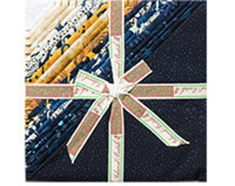 "Island Batik Captain's Anchor Navy Blue Tan Brown Blue Batiks Stack Layer Cake 10"" Squares"