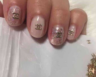 CHANEL 100 pc Nail design 3D Art Gold