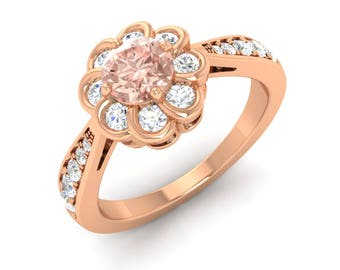 Rose Gold Morganite | Morganite Engagement Ring With Diamond | Morganite 14K Rose Gold | Flower Ring | Natural Morganite Ring | Halo Ring