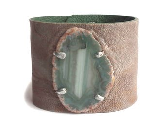 Leather bracelet cuff with agate greige and green