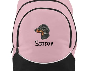 FREE SHIPPING - Dachshund Wienie Dog Personalized Monogrammed Backpack Book Bag school tote  - NEW