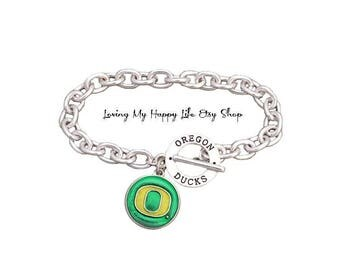 OREGON DUCKS, Charm, BRACELET, Cable Chain, University and Athletics Team Name Toggle Clasp, buy 2 get 1 free