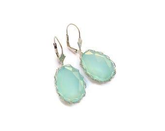 chalcedony earrings in sterling silver aqua blue earrings long earrings made in France green Gemstone dangle earrings wire crochet jewelry