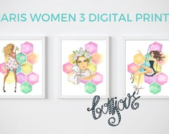 Paris Women Watercolor 8x10 Prints, Set of THREE Instant Download, Printable Decor Bundle, 8x10 Digital Prints