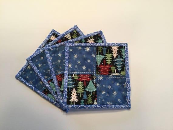 Quilted Mug Rugs, Christmas mug rugs, mug rugs, Christmas tree mug rugs, blue mug rugs