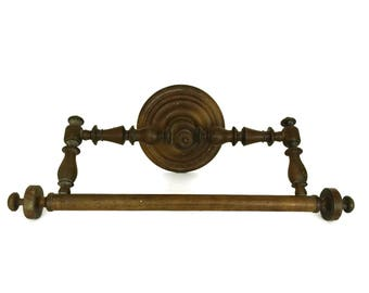 Antique Ciel de Lit Bed Crown Canopy. Napoleon III Wooden Towel Ring. Large Victorian Bathroom Wall Towel Rack. French Home Decor.