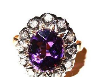 Amethyst Diamond Ring Rose Diamonds Victorian Circa 1850 18K Gold