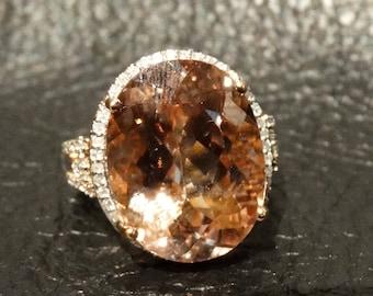 Morganite Diamond Ring 13.45 Carats 14K Rose Gold Engagement