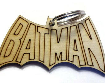 Wooden Batman Keychain/Backpack Charm