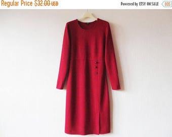 ON SALE Crimson Red Jersey Dress Burgundy Thick Viscose blend Long Sleeve Winter Day Dress Side Slit Size Medium