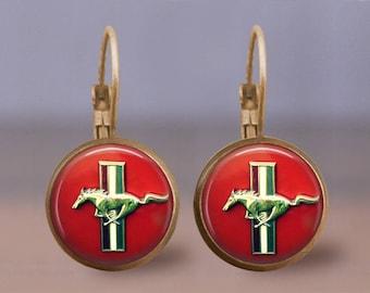 Vintage Ford Mustang Emblem Earrings or Ring