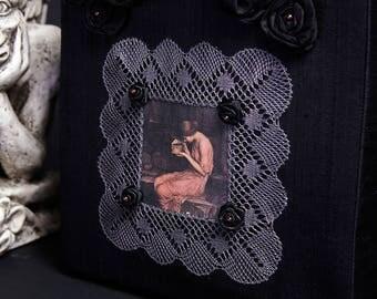 "Black Dupioni Silk Tote Bag Silk Roses ""Psyché"" Handmade Bobbin Lace Garnet Beads"