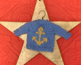 Anchor Hand-Knit Sweater Ornament