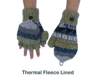 Winter Gloves Women. Gloves Women. Hand Knit Gloves Thermal Fleece Lined. Size - Regular Women - Mens Slim Fit. Wool & Cotton Blend Yarn.