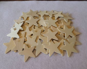 "50 Wood stars, unfinished, 1 5/8"" x 1/16"", for wood crafts, woodworking, wood shapes, wood pieces"