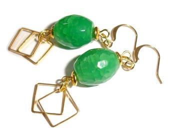 Gold Earrings Green Earrings Gemstone Earrings Green Agate Drop Earrings Earrings Gemstone Earrings Gemstone drops Gold Square earrings