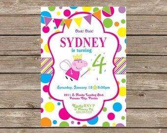 Peppa Pig Polka Dot Birthday Invitation