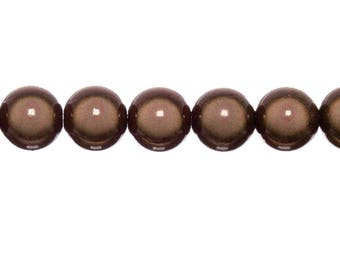 10 x magic round beads 10mm - Brown