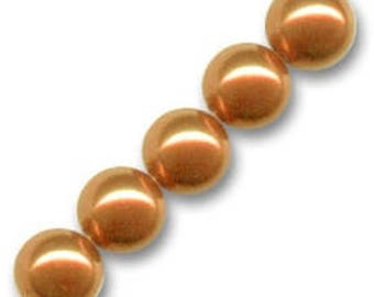 10 x 8 mm CARAMEL Pearly round glass beads