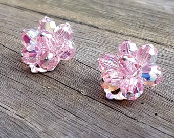 Classic Crystal Flower 1950s Pink Clip On Earrings 2cm