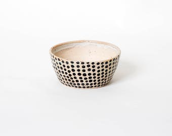Matcha green tea bowl, Polka dot bowl, Shawan bowl, Gift for her, Danish unique bowl, Handmade tea bowl, Breakfast bowl Farmhouse style bowl