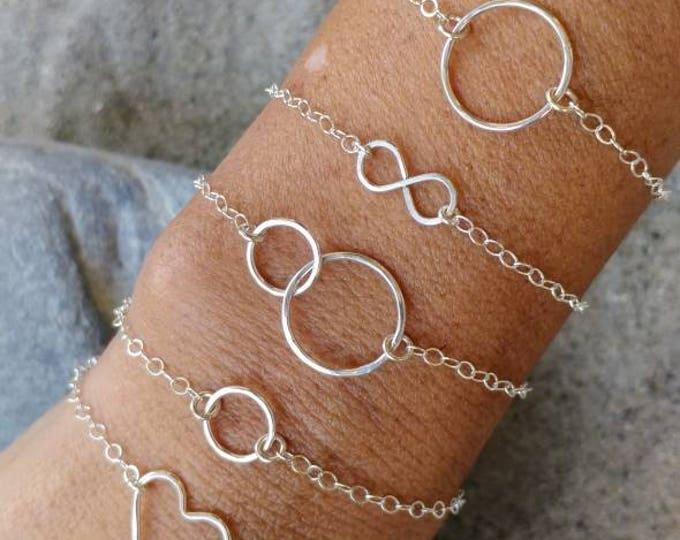 Tiny Silver Bracelet, Sterling Silver, Layering Bracelet, Heart, Circle, Infinity, Bracelet, Hammered, Dainty Silver Bracelet