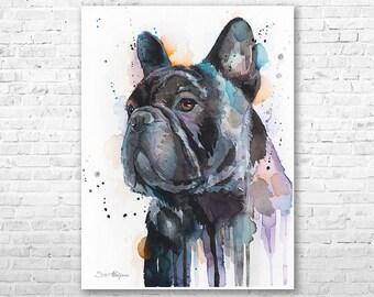 Frenchie watercolor painting print by Slaveika Aladjova, art, animal, illustration, home decor, Nursery, gift, Contemporary, dog art
