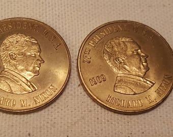 2 Pcs. Richard M. Nixon Commemorative Gold Coin 37th  President 1969