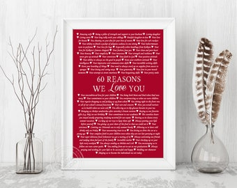 60th Birthday Print, 60 Reasons We Love You, Personalised print gift idea, Custom design, 60 reasons canvas print, 60 reasons paper print