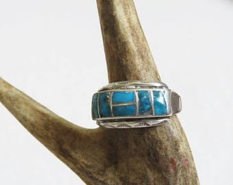 ON SALE Turquoise Inlay Ring // US Size 7 Native American Sterling Silver Ring // Vintage Jewelry