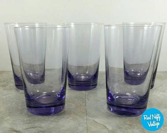 Vintage Purple Glasses- Retro Dining - Vintage Barware Glasses Set of 5 - Japan Radio Glass Co.
