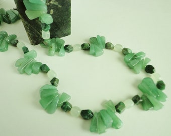 African Jade & Green Aventurine Necklace, Sea Green New Jade, Shades of Green Gemstone Beads Necklace, Jewelry Gift for Her