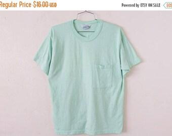 ON SALE LARGE Vintage 1990s Seafoam Green Pocket T-Shirt